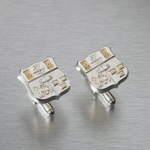 Solid Silver UCC Crest Cufflinks with Gold Plated Detail